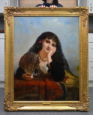 V Large Fine Antique 19thC French Oil Painting Beautiful Young Girl Paris Salon