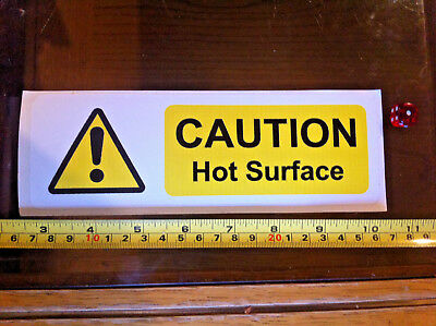 Large Caution Hot Surface Kitchen Yellow Safety Sticker Sign New 195mmx65mm