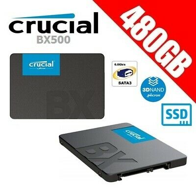 """Crucial BX500 480GB 3D NAND SATA 2.5"""" SSD Internal Solid State Drive Gamer PC"""