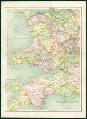 1912 Original Colour Antique Map  - ENGLAND WALES WESTERN SECTION (63)