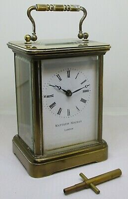 Vintage Matthew Norman of London Brass Carriage Clock with Key