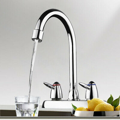 360° Rotation Water Faucet Two Handle Hot Cold Sink Mixer Tap Kitchen Bathroom
