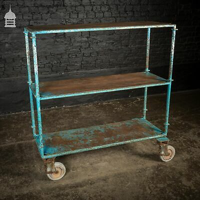 Large Steel Vintage Blue Industrial Wheeled Trolley Mobile Shelf Unit