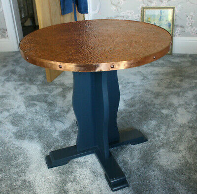 Vintage Arts & Crafts Copper Top Round Side Table