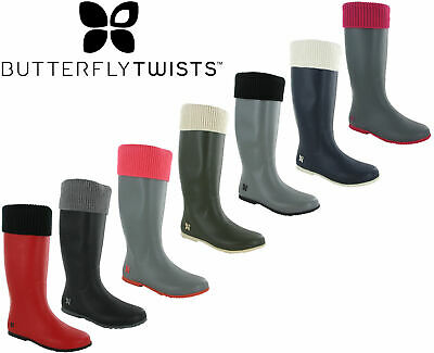 Womens Casual Wellingtons Butterfly Twist Fold Up Sock Top Rain Boots WINDSOR