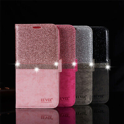 Bling Glitter Diamond Leather Wallet Flip Case Cover for iPhone 11 Pro 6s 7 8 Xs