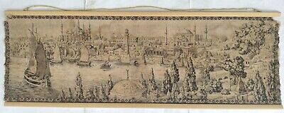 Antique Ottoman Tapestry of Constantinople Landscape of Istanbul Embroidery 1900