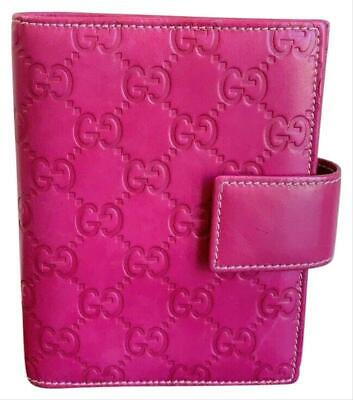 Authentic Gucci GG Embossed Pink Leather Notepad Agenda Cover Clutch 115240