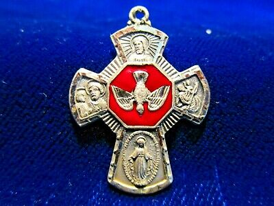 "Sterling 4-Way Cross w/ Red Enamel Spirit Dove Center ""I Am a Catholic"""