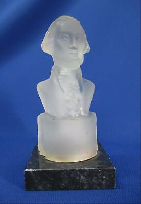 Frosted Glass Bust Of Jefferson By Gillinder On Marble Base