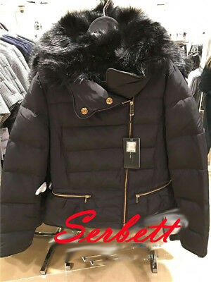ZARA BLACK DOWN QUILTED PUFFER JACKET ANORAK WITH FAUX FUR HOOD A//W//18//9 SIZE M