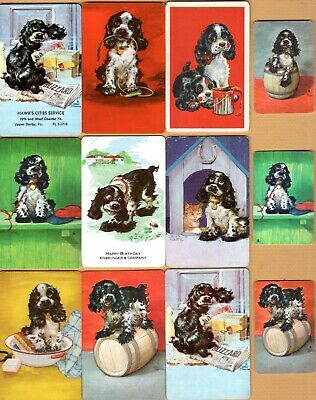 12 Single Swap Playing Cards BUTCH DOGS CUTE PUPPIES 3 MINI 1 AD VINTAGE