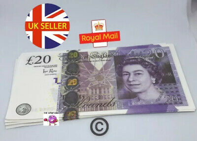 10x 20 Notes Realistic UK Pounds Prop Money British ACTUAL SIZE! -Fast shipping