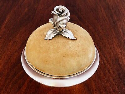 - Tiffany Sterling Silver Based Pin Cushion With Silver Rose Finial No Monogram