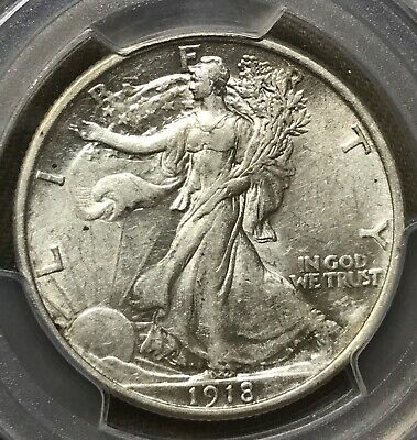 1918 walking Liberty half dollar, almost uncirculated, Pcgs AU53 white