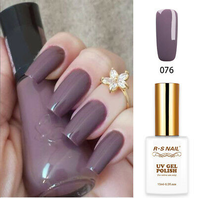 RS Nail UV LED Gel Nail Polish Varnish Soak Off UV Gel Colour Purple Grey 15ml