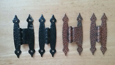 2- Pairs Of Vintage Hammered Colonial H Style Cabinet Hinges Black And Copper