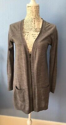 Marks & Spencer Limited Collection Grey Marl Zip Up Wool Blend Cardigan UK 8