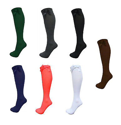 Ladies & Girls Knee High Cotton Rich Socks With Bow School Wear Everyday Use Kid