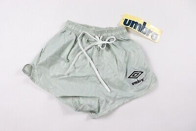 Vintage 80s New Umbro Youth Large Spell Out Nylon Soccer Shorts Silver USA