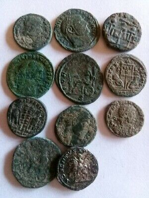 007.Lot of 11 Ancient Roman Coins,1x Silver Caracalla,10x Bronze