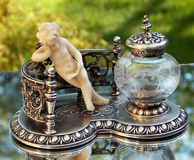 BREATH TAKING EXTREMELY RARE EARLY VICTORIAN M J Rückert SOLID SILVER INKSTAND