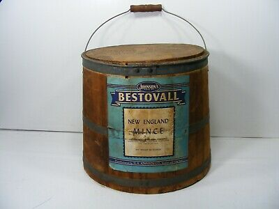 HUGE Early Antique Primitive Wooden Firkin with Lid  Mince Meat Staved Bucket