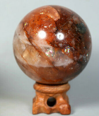 331g RED FIRE QUARTZ Hematoid Crystal Polished Palm Stone Ball Healing Stand