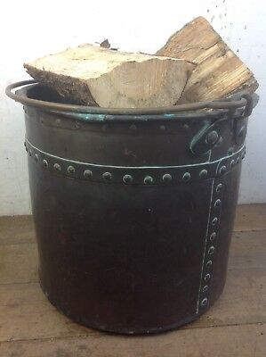 Vintage riveted copper log container planter fireplace bucket old cauldron
