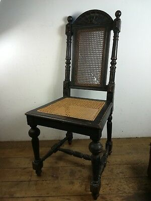 Antique ebonised Hall occasional rattan seat Chair wood old restoration