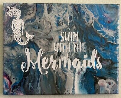 Mermaid Abstract Acrylic Painting Canvas Paint Pour 8x10 OOAK Swim With Mermaids