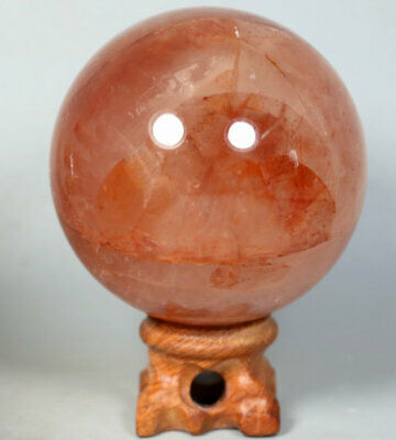 398g RED FIRE QUARTZ Hematoid Crystal Polished Palm Stone Ball Healing Stand
