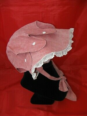Early Antique Child's Handmade Country Bonnet 19th C Old Textile, No Reserve