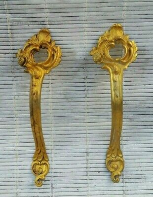 2x French Vintage Gilt Brass Ormolu Chateau Curtain Tie Backs Hooks Holders PAIR