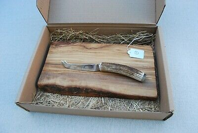 Red Deer Antler Handled Cheese Knife & Olive Wood Cheese Board No.1
