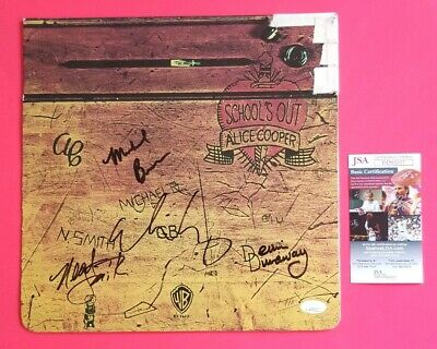 """ALICE COOPER X4 BAND SIGNED """"SCHOOL'S OUT"""" LP ALBUM CERTIFIED WITH JSA COA psa"""