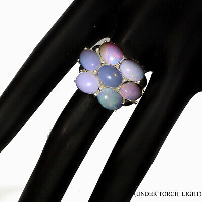 Unheated Oval Fire Opal Full Flash 9x7mm Natural 925 Sterling Silver Ring Size 9