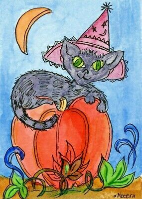 ACEO Original Painting, Halloween Black Cat Pumpkin Moon Hat artist, S. Nocera