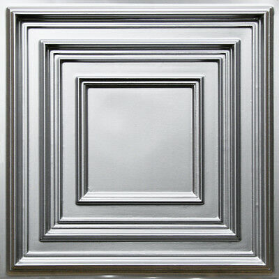 Faux Tin PVC Decorative Ceiling Tile 2'x2' (25/pack)-Silver #222 Drop-in/Glue-up