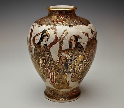 SUPERB JAPANESE SATSUMA VASE 1800s Meiji Signed Kimono Wise Men Gold Antique