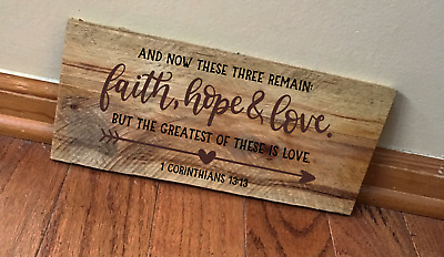 Wood Sign Faith Hope Love Wooden Box Frame Signs You