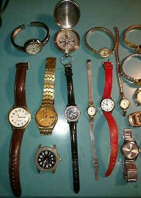 Junk Drawer Lot - Vintage Watches foreign Coins