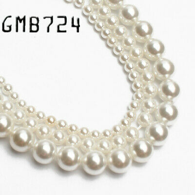 Wholesale Natural White Shell Pearl Round Loose Beads For Jewelry Making Choker