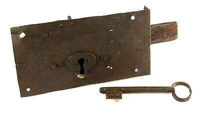 ~ Antique 1700's Lg Wrought Hand Forged Iron Door Mortise Lock & Skeleton Key
