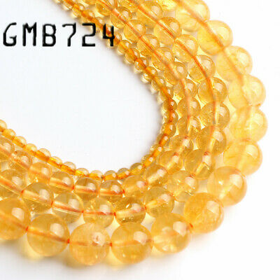 Natural Citrine Yellow Crystal Quartz Round Beads for Jewelry Making DIY 4-8MM