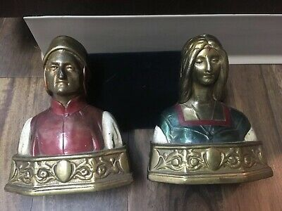 """1920s Art Deco Weighted Bronze Bookends Dante Beatrice """"love Story"""" Pompeian"""