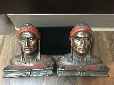 Early 1920s Art Deco Weighted Bookends Dante Pompeian Bronze Co Antique Rare