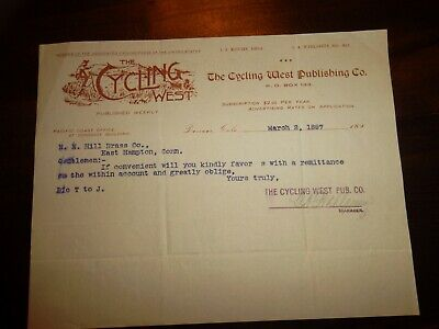 BICYCLE Letterhead 1897 Denver Colorado  -  CYCLING WEST  -  COWBOY ON BICYCLE