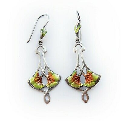 Arts & Crafts Mackintosh style Enamel Earrings Solid Silver