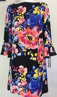 TAHARI by ASL Printed Floral Bell Sleeve Shift Dress Size 6 NWT Multi-Color NICE